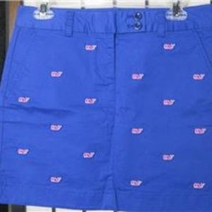 VINEYARD VINES Blue Embroidered Pink Whales Skirt